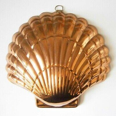 VINTAGE KITCHEN CLASSIC LARGE COPPER PLATED SHELL SHAPE MOULD 22x20cm