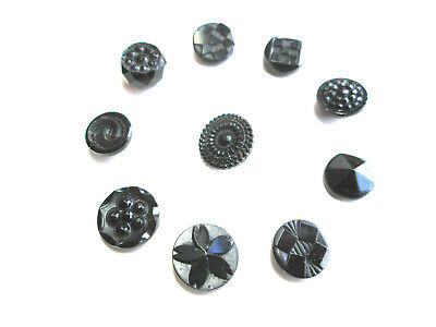 Beautiful VINTAGE LOT 10/$10 Small Patterned Black Glass Collectors Buttons #2