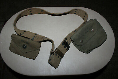Vtg U.s. Army Wwii Era Combat Utility Uniform Web Belt & Buckle Us Ww2 Pouches