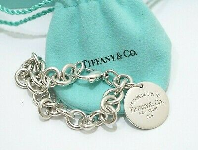 """Auth Tiffany & Co. Sterling Silver Return To Tiffany Round Tag Bracelet 7.5"""""""