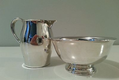 Vintage Reed & Barton Silverplated Paul Revere Miniature Creamer Sugar Bowl
