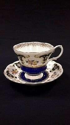 Royal Albert Dorchester Cobalt Fancy Gold Floral Tea Cup And Saucer