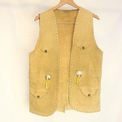Vintage Handmade Men's 40 in Chest Vest Suede Leather