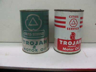 CITIES SERVICE TROJAN MOTOR OIL 2 one quart metal oil cans