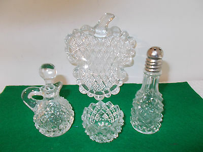 Vintage Miniature Glass Salt Dish, Pepper Shaker, Vinegar Bottle, & Clover Tray