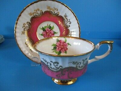 Paragon Cup & Saucer Pink & White Gold Accents Excellent Condition