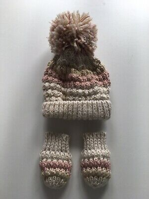 Baby Woolly Hat And Mittens Set Pink Cream Gold Pom Pom 0-3 Months HARDLY WORN