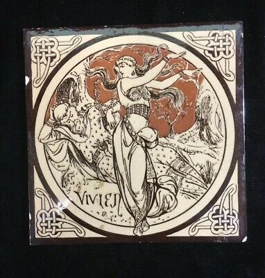 Minton Moyr Smith Brown 'IDYLLS OF THE KING - VIVIEN' 6 x 6 TILE - Rare!
