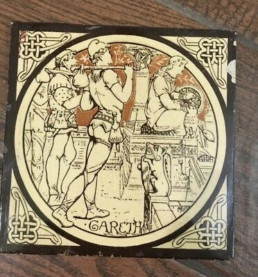 Minton Moyr Smith Brown 'IDYLLS OF THE KING - GARETH' 6 x 6 TILE - Rare!