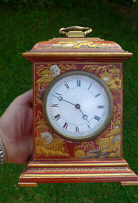 Antique/Vintage 8-day Scarlett Chinoiserie mantel clock white convex dial/glass