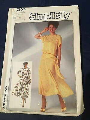 Simplicity 1980s Sewing Pattern Misses' Blouson Dress Size 6,8,10 Uncut