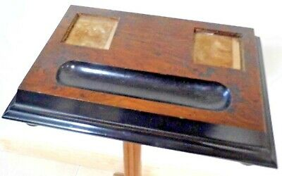 Antique INK STAND Walnut ebonised DESK PEN Victorian