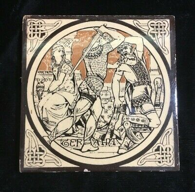 Minton Moyr Smith Brown 'IDYLLS OF THE KING - GERAINT' 6 x 6 TILE - Rare!