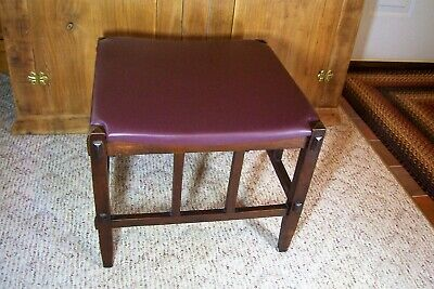 Antique Arts And Crafts Mission Upholstered Quarter Sawn Oak Ottoman Footstool