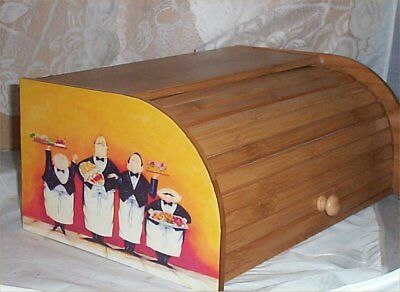 Fat Chef Bread Box Bamboo Wood Waiter Kitchen Roll Top Lodge Decor Yello