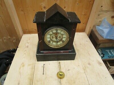 Antique Ansonia Mantle Clock Marble/Slate. SPARES OR RESTORATION.