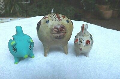 Vintage Ceramic Mexican Handle Small Piggy Bank Clay Pig Painted Lot of 3