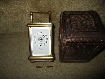 French striking and repeating carriage clock by Margaine 10715 with key and box