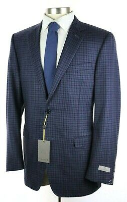 NWT $1595 CANALI 1934 Navy Blue Check Wool Sport Coat Jacket Slim Fit 44 L