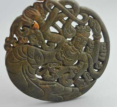Collectable Handwork Decor Old Jade Carve Classical Belle Dance Fashion Pendant