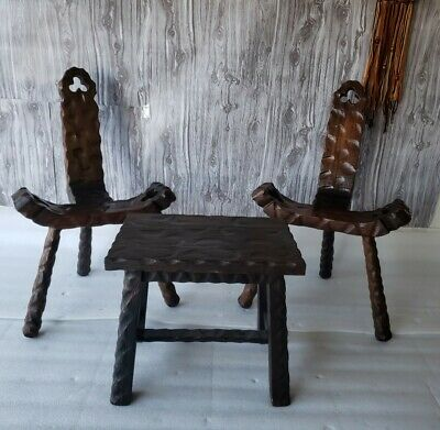 Vtg Mid Century Primitive Folk Art Witco Style Wood Birthing Chairs&Middle Table