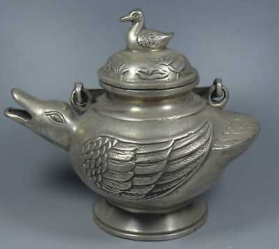 Collectable Handwork Decor Tibet Miao Silver Carve Duck Auspicious Old Tea Pots