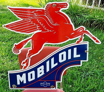 Vintage Mobiloil Pegasus Porcelain Sign Mobil Gas Oil Service Station Sign