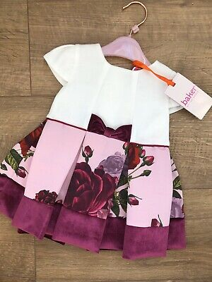 New Ted Baker Baby Girls Mocable Dress Rose Floral Size 3-6 Months rrp£32