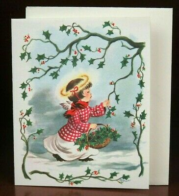 Fravessi Lamont Pretty Girl w/ Basket Mid Century Christmas Card 10FL 224 Unused