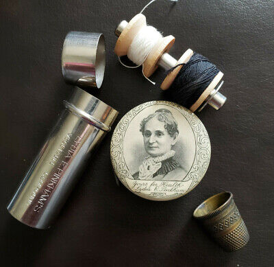 RARE!!! Antique Lydia Pinkham's Sewing Lot: celluloid tape measure & sewing kit