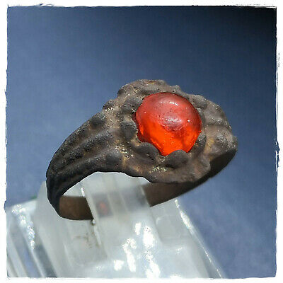 ** RED STONE ** fertility Ancient BRONZE Roman ring !!! 2,78g