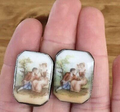 Antique Sterling Silver Porcelain Transfer Courting Couple Screw Back Earrings
