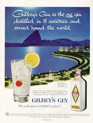 GILBEY'S GIN Ad 1957 Cocktail in RIO DE JANEIRO Brazil Alcohol Beverage