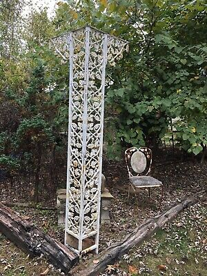 VTG Cast Iron Railing Architectural Salvage Rail Piece Garden Flower 98''x8.5''