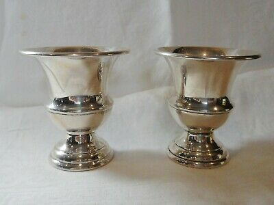 Pair Sterling Silver Miniature Urns Toothpick, Cigarette Holders JWR Sterling