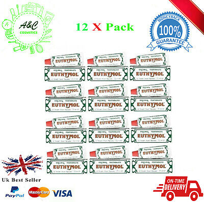 12 X Euthymol Original Toothpaste 75ml EXP 08/2021 UK SELLER FREE DELIVERY