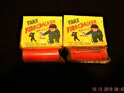 Two Vintage Mid Century NOS Child's Toy Trick Dud Fake Firecracker Made in Japan
