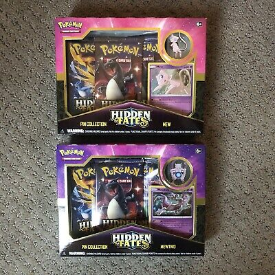 (2)Pokemon Hidden Fates Pin Collection Boxes Mew & Mewtwo - New factory sealed