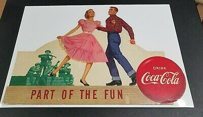 Coca Cola PART OF THE FUN Cardboard Sign SQUARE DANCING 1 of 4