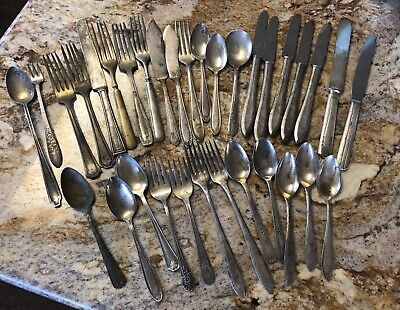 33 Pc Lot Silverplate Silverware Antique Oneida WM Rogers Newport Nobility ++