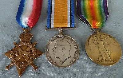 WW1 1914-15 Star, British War & Victory Medals to 79235 Driver T Nugent  RFA