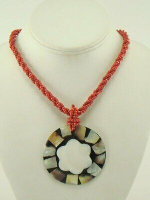 Coral Seed Bead Necklace Mother of Pearl Pendant Large Round