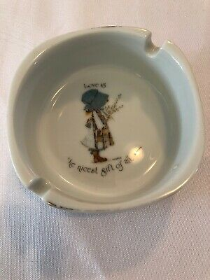 Holly Hobbie by Sands Genuine Porcelain Ash Tray Blue Dress Girl Collectable