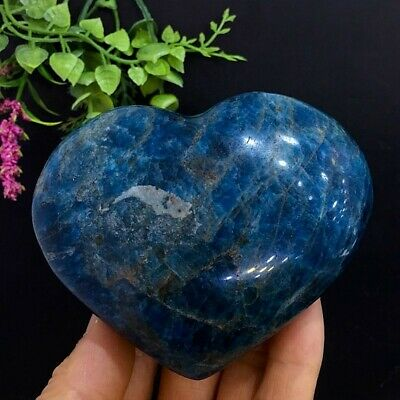 408g Natural Polished Blue Apatite Heart Love Quartz Crystal Mineral Specimen