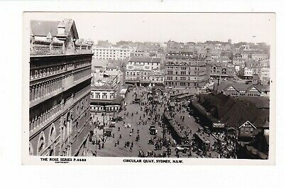 CIRCULAR QUAY exceptional animated Rose PHOTO pc c1920-30s Trams Signs AUSTRALIA