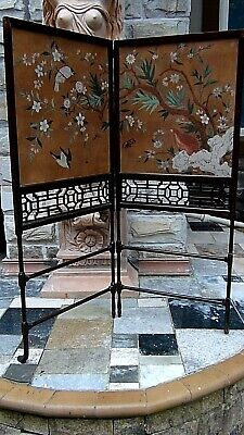 Antique Chinese Watercolor On Paper 2 Panel Floor Folding Screen Room Devider