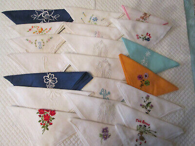 21 Vintage Embroidered Handkerchiefs (see description)