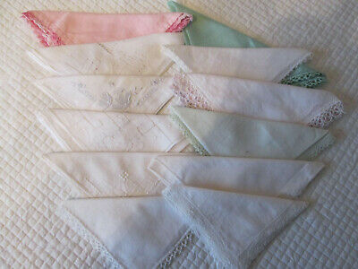 12 Vintage Handkerchiefs with fancy edge / embroidery