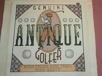 GOLF Golfer Golfing completed cross stitch