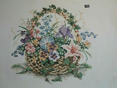 Floral Basket Pansy Lily Ivy Flowers completed cross stitch